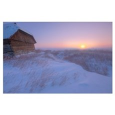 Sunrise On Abandoned, Snow-Covered Homestead, -40  Poster