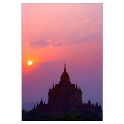 Sunrise Over Stupa Temple In Bagan, Myanmar, Burma Poster