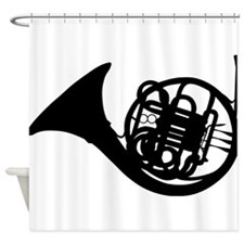 Black French Horn Shower Curtain