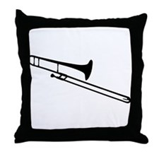 Black Trombone Throw Pillow