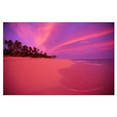 Fiji, Tavarua Island, Sunrise Across Coastline, Pa Poster