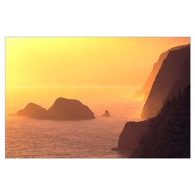 Hawaii, Big Island, Coast At Sunrise From Pololu V Poster