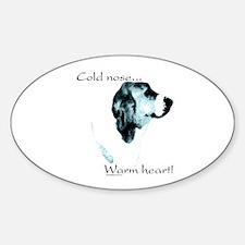 Basset Warm Heart Oval Decal