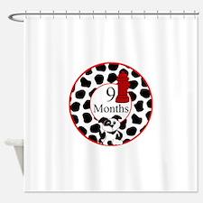 9 Months Fireman Milestone Shower Curtain
