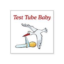 "Test Tube Stork Square Sticker 3"" x 3"""