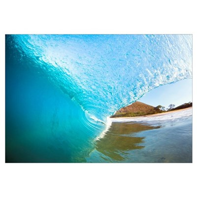 Hawaii, Maui, Makena, Beautiful Blue Wave Breaking Canvas Art