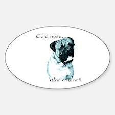 Bullmastiff Warm Heart Oval Decal