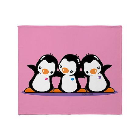 Three Penguins Throw Blanket