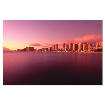 Hawaii, Oahu, Honolulu, Waikiki At Sunset, View Fr Poster