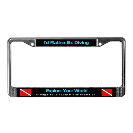 I'd Rather Be Diving, License Plate Frame, Auto