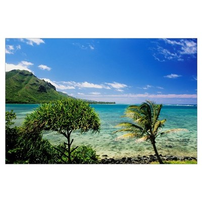 Hawaii, Oahu, Kahana Bay, Blue Sky, Clear Water An Poster