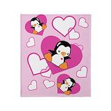 Penguin girl Fleece Blankets