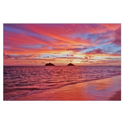 Hawaii, Oahu, Lanikai, A Colorful Pink Sunrise Ove Poster