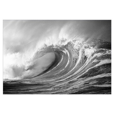Hawaii, Oahu, North Shore, Large Wave Curling Brea Framed Print