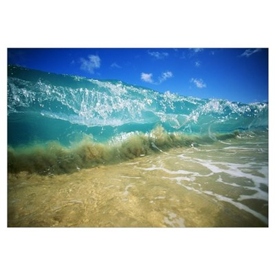 Hawaii, Turquoise Breaking Wave, Sand Visible Thro Framed Print