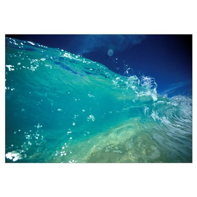 Hawaii, Turquoise Breaking Wave, Sand Visible Thro Canvas Art