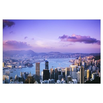 Hong Kong, Overview Of Harbor And Skyline At Twili Poster