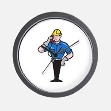Telephone Repairman Lineman Worker Phone Wall Cloc