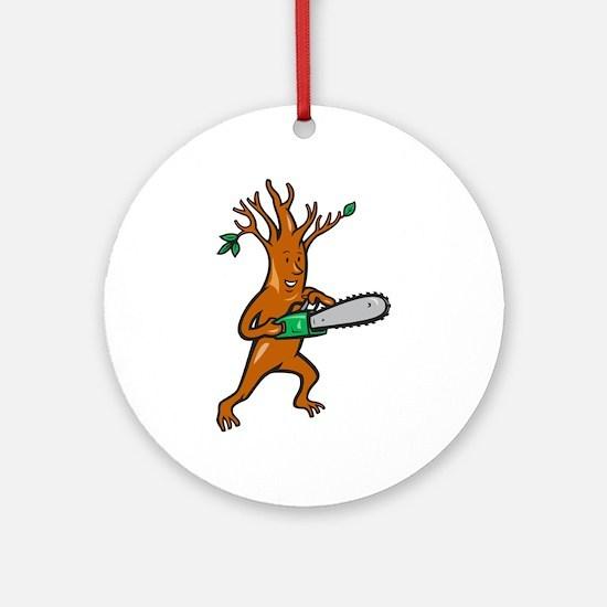 Tree Man Arborist With Chainsaw Ornament (Round)