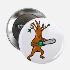 """Tree Man Arborist With Chainsaw 2.25"""" Button"""
