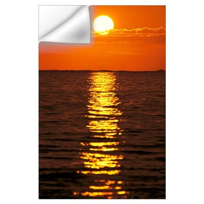 Sunset Reflections On Dark Ocean Water, Sun Ball I Wall Decal