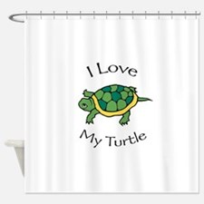 I Love my Turtle Shower Curtain