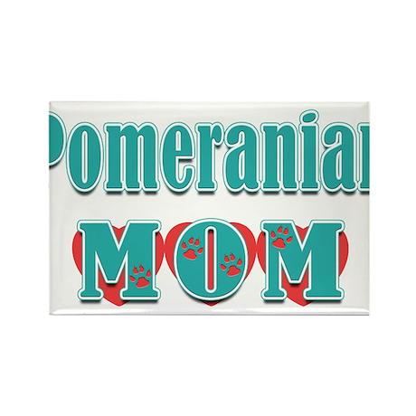 Pomeranian Mom Hearts Rectangle Magnet