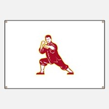 Shaolin Kung Fu Martial Arts Master Retro Banner