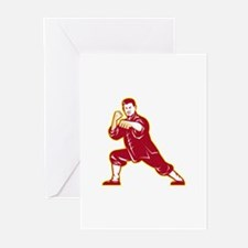 Shaolin Kung Fu Martial Arts Master Retro Greeting