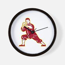 Shaolin Kung Fu Martial Arts Master Retro Wall Clo