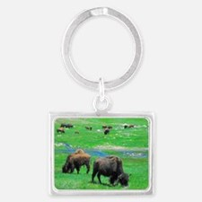 South Dakota Bison Landscape Keychain