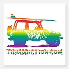 "SURF JEEP - PRIDE Square Car Magnet 3"" x 3"""