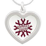 Myeloma Cancer Sucks Silver Heart Necklace