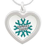 Ovarian Cancer Sucks Silver Heart Necklace