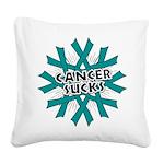 Ovarian Cancer Sucks Square Canvas Pillow
