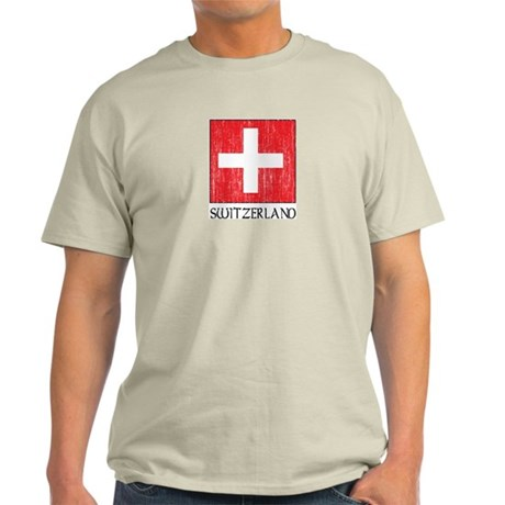 Switzerland Flag Ash Grey T-Shirt