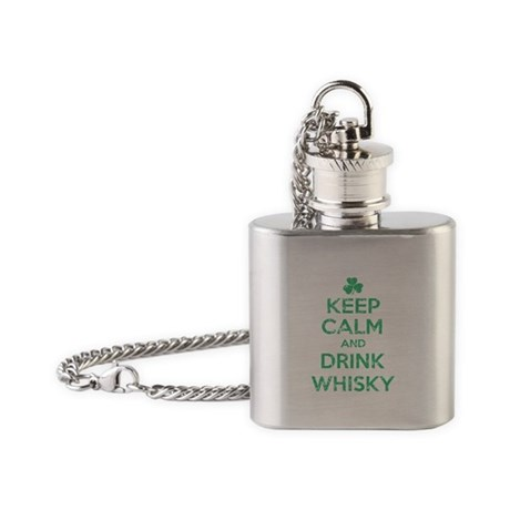 Keep Calm and Drink Whisky Irish Flask Necklace