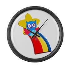 Rainbow Owl Large Wall Clock