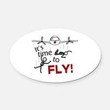 'Time To Fly' Oval Car Magnet