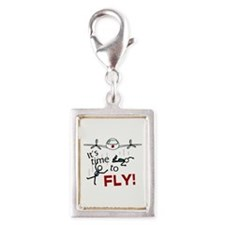 'Time To Fly' Silver Portrait Charm