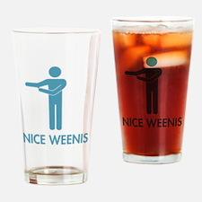 Nice Weenis - Blue Drinking Glass