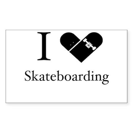 I Love Skateboarding Sticker (Rectangle)