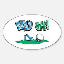 Tee'd Off Golf Design Oval Decal
