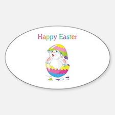 Happy Easter Sticker (Oval)