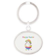 Happy Easter Oval Keychain
