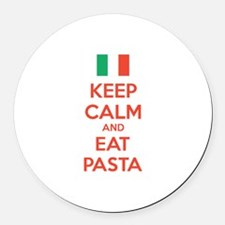 Keep Calm And Eat Pasta Round Car Magnet