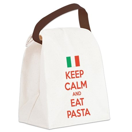 Keep Calm And Eat Pasta Canvas Lunch Bag