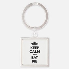 Keep Calm And Eat Pie Square Keychain