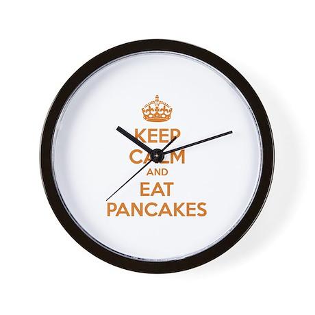Keep Calm And Eat Pancakes Wall Clock by Designalicious