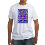 BLUE MAGENTA BUTTERFLIES Fitted T-Shirt